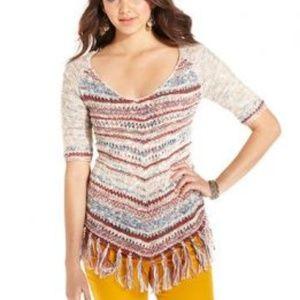 American Rag Colorful Boho Fringe Sweater